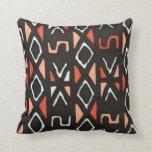 Orange African Mudcloth Print Pillows