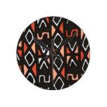 Orange African Mudcloth Print Round Wallclock