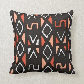 Orange African Mudcloth Print Throw Pillow