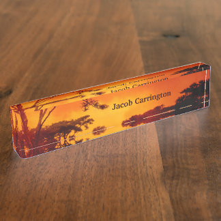 Orange African Sunset Desk Name Plate
