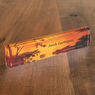 Orange African Sunset Desk Name Plate