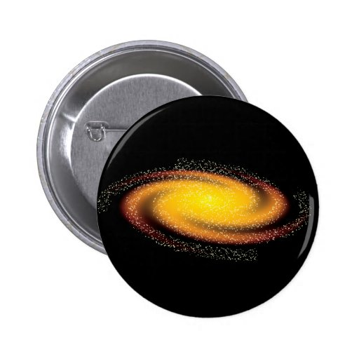 ORANGE AGAINST BLACK SPACE BACKGROUND GALAXY UNIVE BUTTON