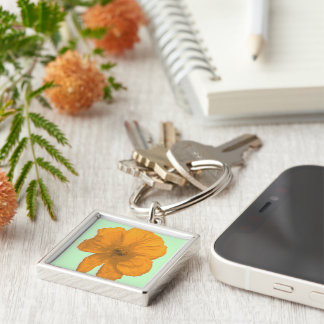 Orange Aid/ PopArt Flower Silver-Colored Square Keychain