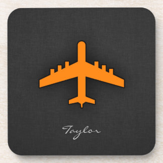 Orange Airplane Beverage Coaster