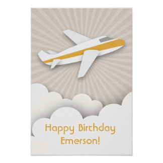 Orange Airplane Birthday Poster