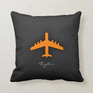 Orange Airplane Throw Pillow