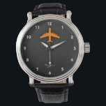 """Orange Airplane Wrist Watch<br><div class=""""desc"""">Cool,  sleek,  Orange  large airplane,  airliner on black and dark gray textured background.  Great gift for commercial airline pilots or kids that love aircraft!  Add your name or text to personalize it! Images used on this item are licensed and &#169; Graphics Factory.com</div>"""