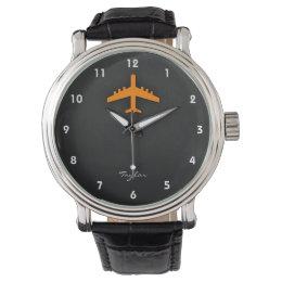 Orange Airplane Wrist Watch