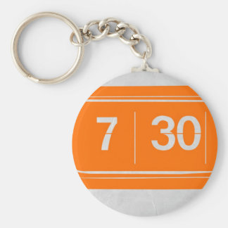 Orange alarm clock basic round button keychain