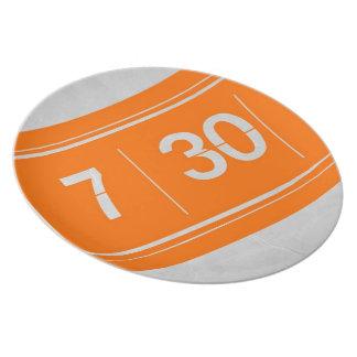 Orange alarm clock melamine plate