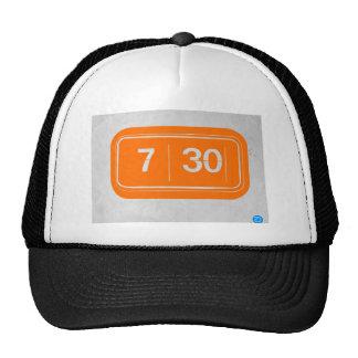 Orange alarm clock trucker hat