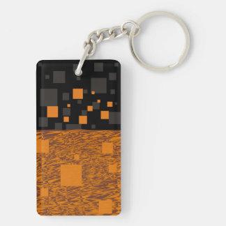 Orange alert float abstract Halloween black box Double-Sided Rectangular Acrylic Keychain