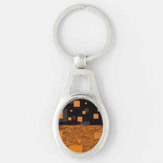 Orange alert float abstract Halloween black box Keychain