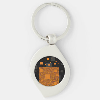 Orange alert float abstract Halloween black box Keychain