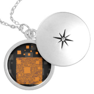 Orange alert float abstract Halloween black box Silver Plated Necklace