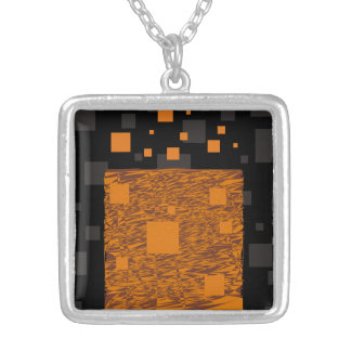 Orange alert float abstract Halloween black box Square Pendant Necklace