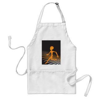 Orange Alien Running in Space Adult Apron