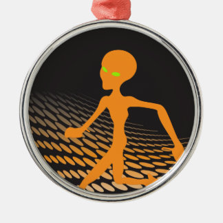 Orange Alien Running in Space Silver-Colored Round Ornament
