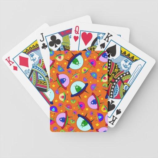 Orange alien spaceship pattern card decks