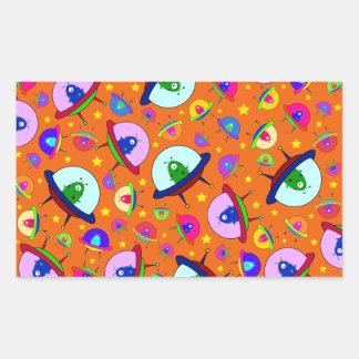 Orange alien spaceship pattern sticker