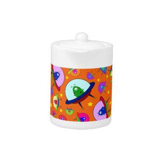 Orange alien spaceship pattern teapot