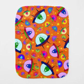 Orange alien spaceship pattern baby burp cloths