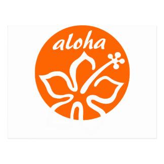 Orange aloha flower postcard