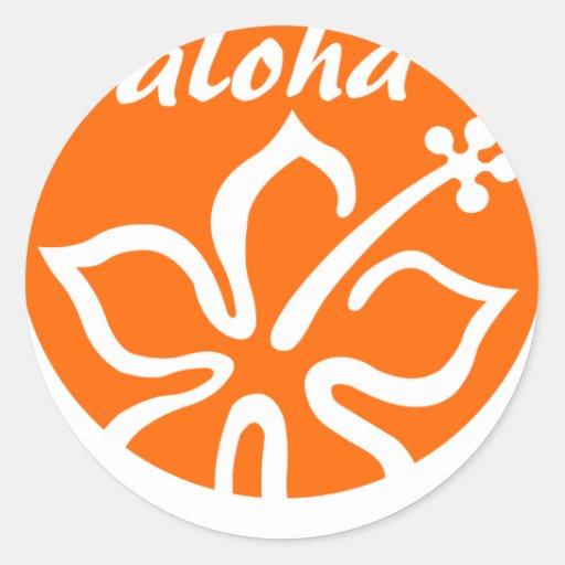 Orange aloha flower round stickers