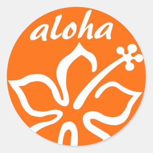 Orange aloha flower round sticker