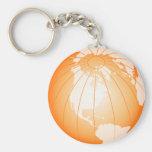 Orange America Globe Key Chain