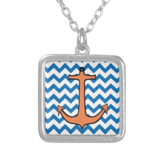 Orange Anchor on a Blue and White Chevron Necklace