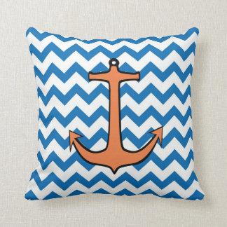 Orange Anchor on a Blue and White Chevron Throw Pillow