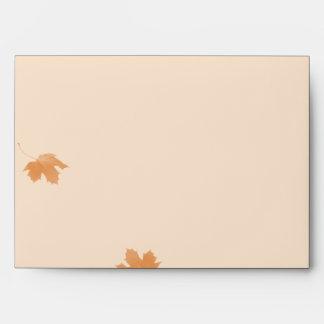 Orange and Aqua Autumn Maple Leaf Wedding Envelope