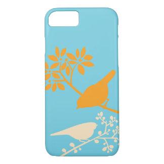 Orange and Aqua Birds and Berries iPhone 8/7 Case