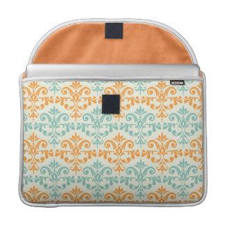 Orange and Aqua Custom Damask Pattern MacBook Pro Sleeve