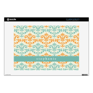 Orange and Aqua Custom Damask Pattern Skins For Laptops