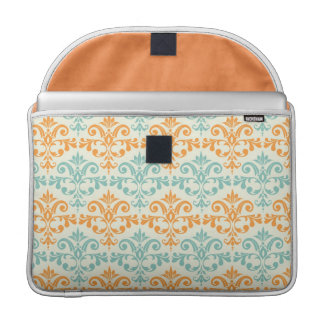 Orange and Aqua Custom Damask Pattern Sleeve For MacBooks