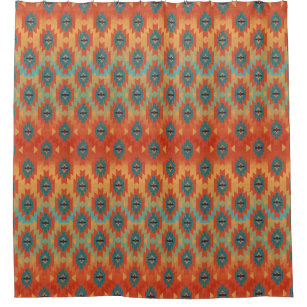Orange And Aqua Ombre Southwestern Shower Curtain