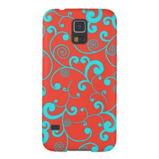 Orange and Aqua Scroll Pattern Galaxy S5 Cover