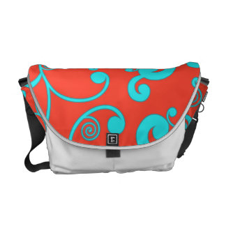 Orange and Aqua Scroll Pattern Courier Bags