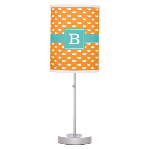 Orange and Aqua Whimsical Whales Pattern Monogram Table Lamp