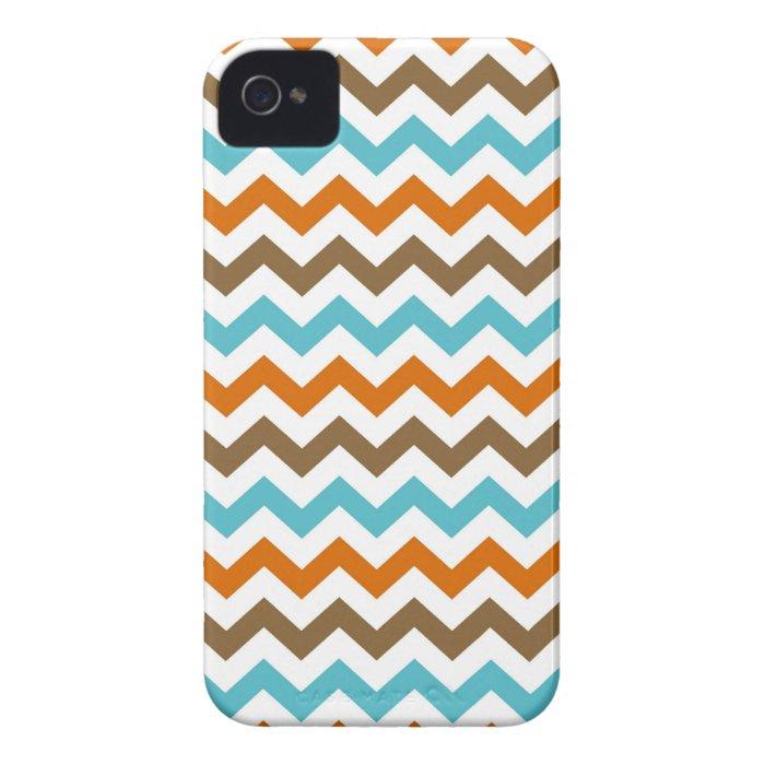 Orange and Aqua Zig Zag Chevrons Pattern iPhone 4 Case-Mate Case