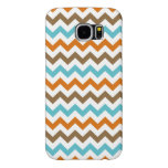 Orange and Aqua Zig Zag Chevrons Pattern Samsung Galaxy S6 Case