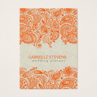 Orange And Beige Floral Paisley Lace Business Card