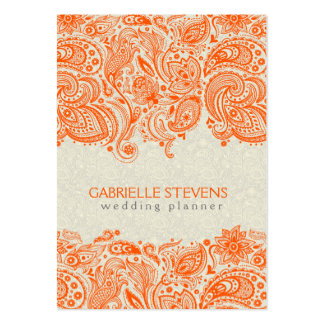 Orange And Beige Floral Paisley Lace Large Business Card