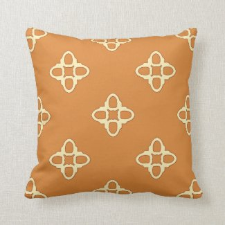 Orange and Beige Reversible Tiled Pattern Pillows