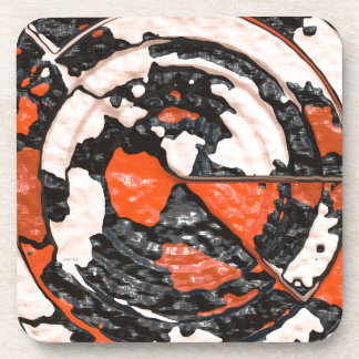 Orange And Black Abstract Circles Coaster