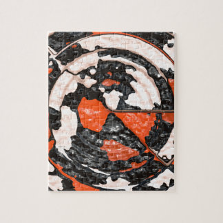 Orange And Black Abstract Circles Jigsaw Puzzle