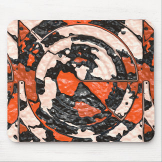Orange And Black Abstract Circles Mouse Pad