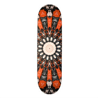 Orange And Black Abstract Skateboard